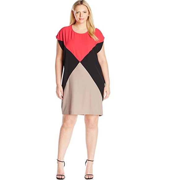 Calvin Klein Dresses Womens Plussize Colorblock Dress Poshmark